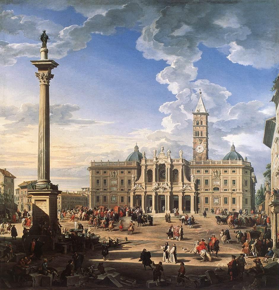 17世纪时的马杰奥尔圣母玛利亚大教堂及其广场