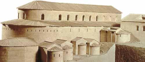 这个模型让我们看到君士坦丁的大殿建筑特色,即所谓弧形(circiform)设计,类似罗马的弧形竞技场。君士坦丁在罗马郊区也建造了多所同样模式的大殿。