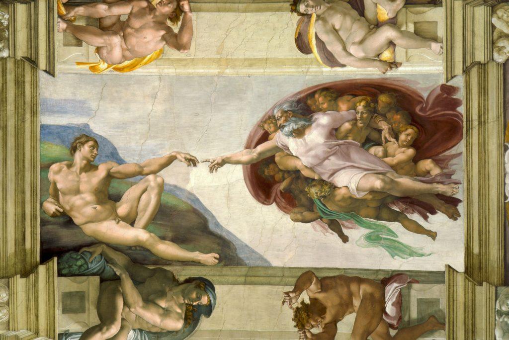 """""""天主创造亚当"""",西斯汀小堂壁画局部特写(1508-1512),米开朗基罗绘,天主用手接触亚当的手而将灵魂和智力赋予他。"""