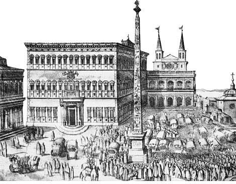 在梵蒂冈固书馆的西斯笃大厅(salone sistino)中,一幅尼比亚(Cesare Nebbia)所作的壁画(约1588年),描写西斯笃五世下令修建的拉特朗大楼新貌。这座大楼在教宗去世前不久落成。唯一没有拆卸改建的是君士坦丁时代的洗礼堂和大殿。