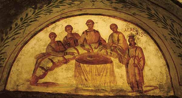 宴席图(吊宴图)(refrigerium)见于圣玛策林和圣伯多禄地窟内。